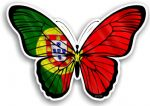 Beautiful Butterfly With Portugal Portuguese Country Flag Vinyl Car Sticker 130x90mm